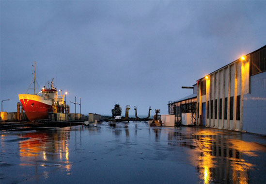 A rainy day in Akranes shipyard by atli hardarson
