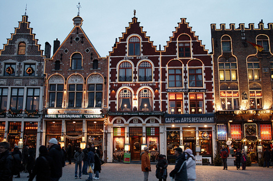 Grote Markt Restaurants by Night, Bruges_by Rich B-S