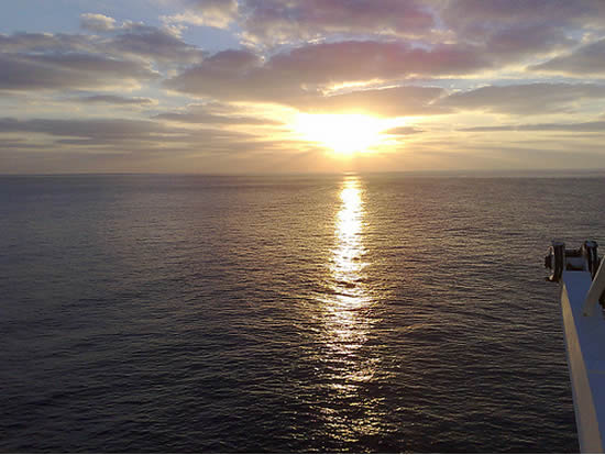 Sunset in the Bay of Biscay on the Pride of Bilbao